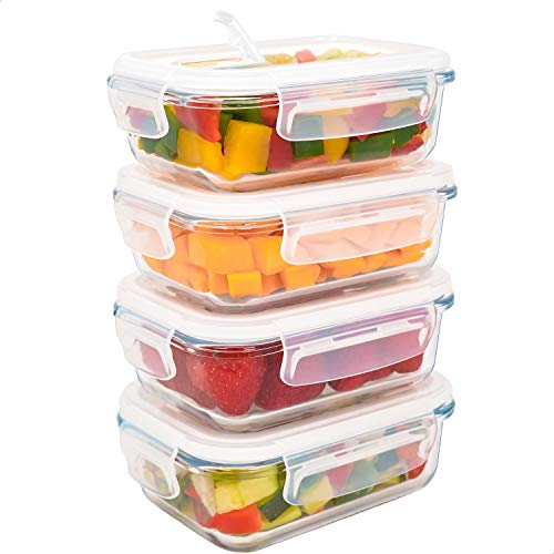 LG Luxury & Grace Lot de 4 Boîtes Alimentaires en Verre 360 ML. Récipient Hermétique avec Valve de Vapeur. Boîtes de Conservation pour Micro-Ondes, Four, Lave-Vaisselle et Congélateur. sans BPA.