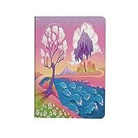 アパートの装飾 ipad air 4 ケース 2020 第4世代 10.9インチ 架空のファンタジーの木と川の波とデイジーの魔法の絵 耐衝撃 新型 アイパッドエアー4専用スマートカバー スタンド付き マルチと星の風景
