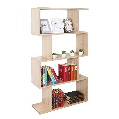 RICOO WM071-ES Estantería 129 x 70 x 25 cm Estante Librería Moderna Biblioteca Muebles de hogar Mueble almacenaje 4 Niveles Color Madera Roble marrón