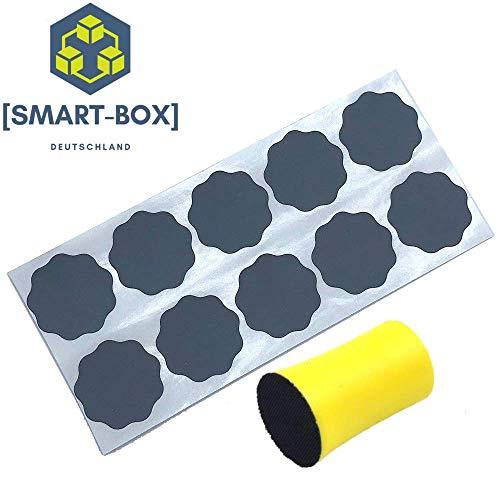 [SMART-BOX] 10x Schleifblüten + Schleifklotz | Körnung 3000 (Ultra fein) | 30mm | selbstklebend | wasserfest | Schleifscheiben + Schleifblütenhalter