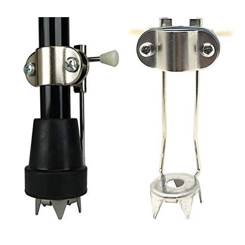 Heavy Duty Metal 4-Prong Retractable Ice Cane Tip Attachment - Essential for Safer Walking in Ice and Snow