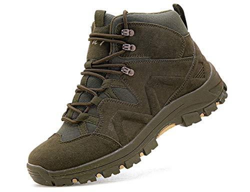 IYVW OU7 X81 Commando Combat Boots Botas táticas ao ar livre para o deserto com bom suporte e tração para acampamento, caminhada, montanhismo, off-road Verde 45 EU