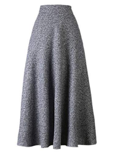 Damen Herbst Winter Wollrock Vintage Elegant Hohe Taille Falten Röcke A Linie Rock Tellerrock Winterrock Lang (Color : Grau, Size : XL)