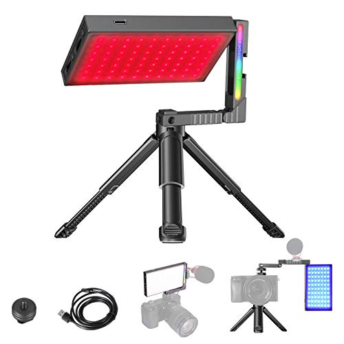 VIJIM R70 RGB Video Light,LED Camera Lights with Magic Arm,360° Full Color,20 Common Light Effects,Portable Photography Lighting with Tripod,2700-8500K 5000mAh Rechargeable LED Video Lamp Panel