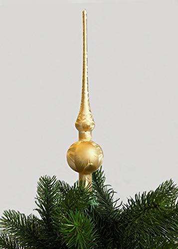 Jack Christbaumspitze Thüringer Glas 28cm Spitze Mundgeblasen Eislack Glanz Matt, Farbe:Gold