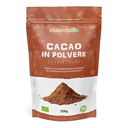 Cacao Ecológico en Polvo 200 g. Organic Cacao Powder. 100% Bio, Natural y Puro producido a partir de Granos de Cacao Crudo. Cultivado en Perú a partir de la planta Theobroma Cacao.