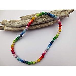 Bunte Kette für Kinder, Kinderkette aus Holzperlen, Regenbogen, Farben lernen, elastisch, auch als Namenskette möglich…