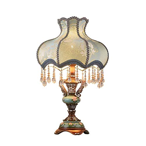SPNEC Luz Lámpara de Mesa de la Vendimia, romántico lámpara de cabecera del paño de la Cortina Azul Corte lámpara de Escritorio con Resina Tallada Base for el Dormitorio de la Sala