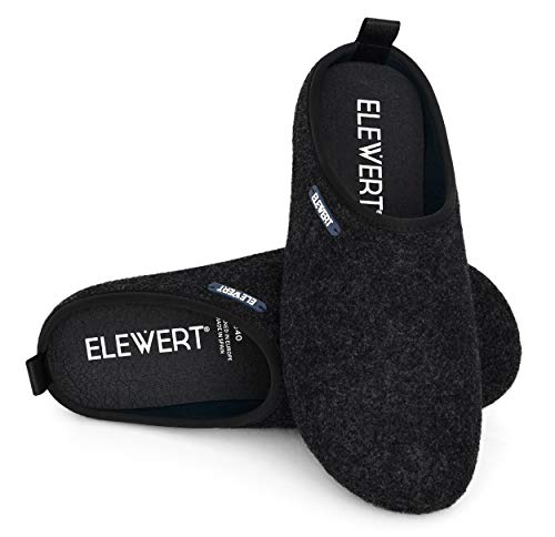 ELEWERT® - NATURAL-W1BLACK- Zapatillas para casa, Confort, Unisex, Interior, Exterior, Suela de Caucho, Plantilla extraíble reciclada, Designed IN Europe, Made...