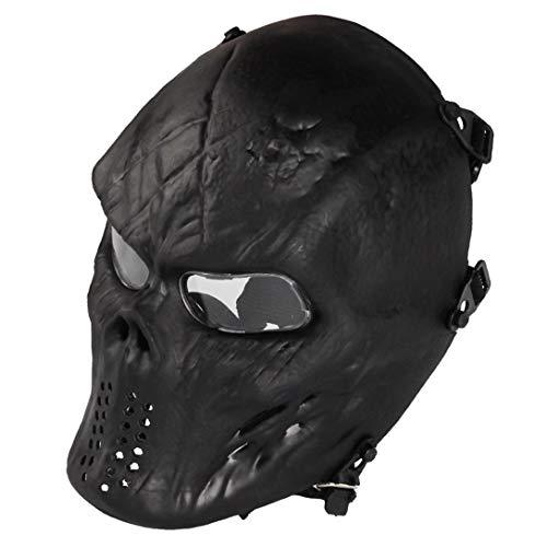 Airsoft Maske mit Schutzbrille Halloween Skull Schutzmaske Taktische Full Face fur Paintball Softair CS Partyspiel Schwarz & Klar Linsen