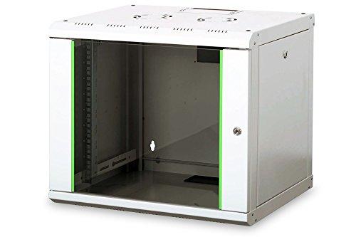 DIGITUS Netzwerk-Schrank 19 zoll 9 HE - Wandmontage - 450 mm Tiefe - Traglast 100 kg - Unique Serie - Glastür - Grau