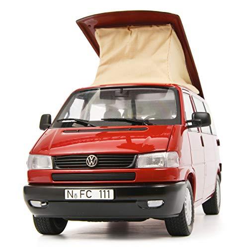 Schuco 450042000 VW T4b Camper, Westfalia, mit faltbarem Campingdach, Modellauto, 1:18, rot