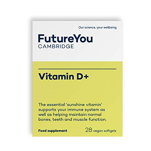 Vitamin D+ Softgels with D3 (Cholecalciferol) - Highly Bioavailable Sunflower Formulation - 28 Day Supply - Vegan Suitable Supplement - Developed by FutureYou Cambridge, UK