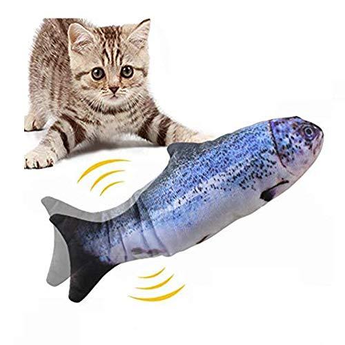 jillbang Spielzeug mit Katzenminze, Katze Interaktive Spielzeug, Elektrische Fische Katze, 30CM Simulation Fisch, Kissen Kauen Spielzeug für Katze