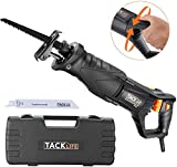 TACKLIFE Reciprocating Saw, 7 Amp Recip Saw with Rotary Handle(Left & Right 90°), 0-2800SPM Variable Speed, LED Lights, 2 Saw Blades for Wood and Metal, Sturdy Box, 1-1/8' Stroke Length-RPRS01A