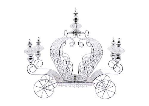JOICE GIFT Crystal Studded Bling Pumpkin Carriage Candle Holder Centerpiece 21 inch Large (Silver)
