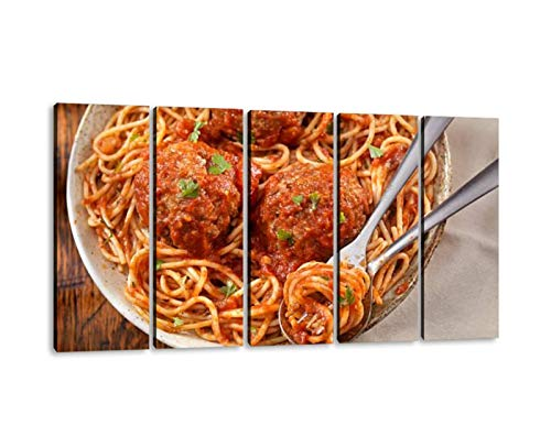 KiiAmy 5 Panels Art Wall Decor Spaghetti with Large Meatballs Artwork Modern Canvas Prints Office Bedroom Home Decor Framed Painting Ready to Hang (60''Wx32''H)