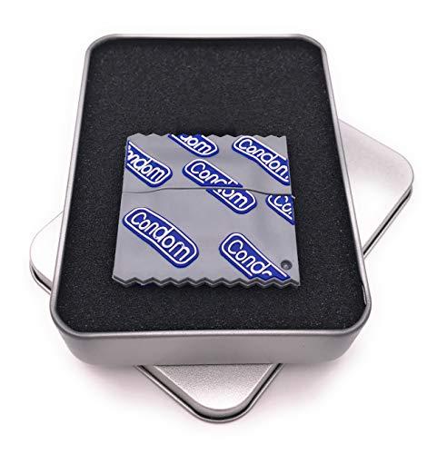 Onwomania condoom beschermingsmiddel gag USB-stick in aluminium geschenkdoos 64 GB USB 2.0