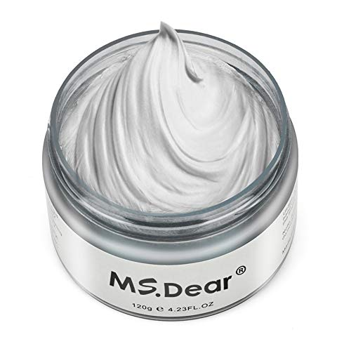 Hair Color Wax Wash Out Hair Color Instant Silver Grey Hair Wax Temporary Hairstyle Cream 4.23 oz Silvery Grey Hair Pomades Natural Silver Ash Matte Hair Gel for Men and Women (Ash Matte Grey)