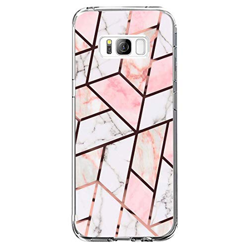 Riyeri Hülle Compatible with Samsung Galaxy S8 Hülle Klar Slim TPU Silikon Bumper Handyhülle für Samsung S8 Plus - Marmor & Blume (S8, 10)