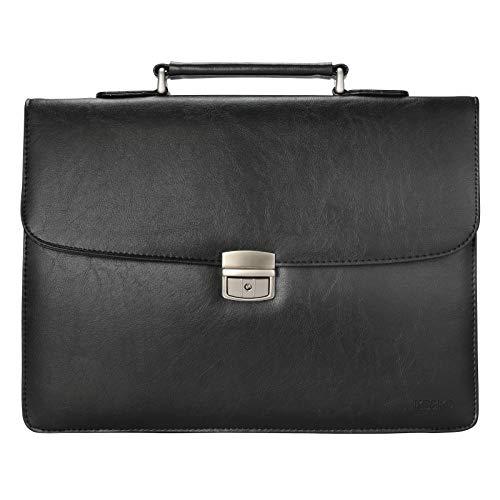 KB&KD PU Leather Lawyer Briefcase for Men, Messenger Bag Attache Case Business Bag,KK5100 (Black)