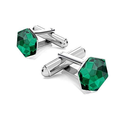 Beforya Paris - Hexagon - Elegante Manschettenknöpfe Silber 925 - Viele Farben - Herren mit Swarovski Elements Manschettennadeln Geschenk mit Box PIN/75 (Emerald)