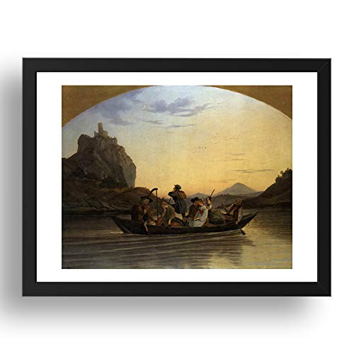 Period Prints RICHTER, Adrian Ludwig: Crossing the Elbe at Aussig, arte vintage,...