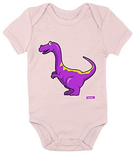 Hariz Velociraptor - Body de manga corta para bebé, diseño de dinosaurios Algodón de azúcar rosa. Talla:0-3 meses