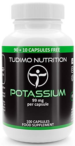 Potassium | 99mg per Capsule - 100 pcs (3+ Month Supply) of Rapidly Disintegrating Capsules, Each with 99 mg of Premium Quality Potassium Gluconate Powder, by TUDIMO
