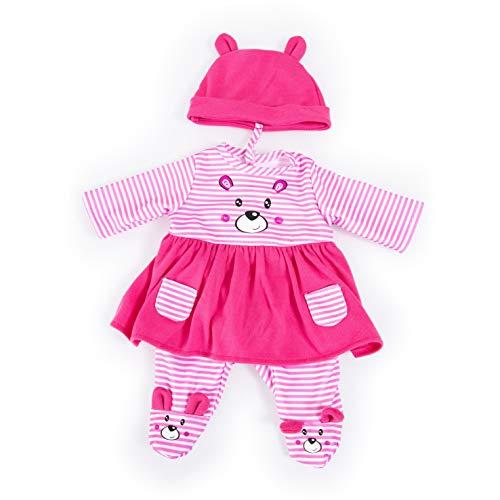 Bayer Design 84687AA Puppenkleidung für 40-46cm Puppen, Kleid, Hose, und Mütze, Set, Outfit mit niedlichem Bärenmotiv, pink-weiß gestreift