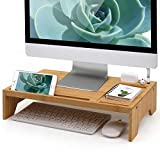 BambuMate Monitor Stand Riser, Bamboo Desktop Organizer with Charging Holes, Media Slots Compatible with AirPods, Kindles, Cell Phones, Tablets, Versatile Used as Printer, Laptop Holder