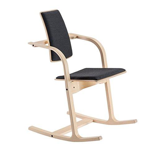 Actulum Balans Ergonomischer Stuhl von Varier – Naturliche Esche Struktur, Schwarzer Stoff Sitz