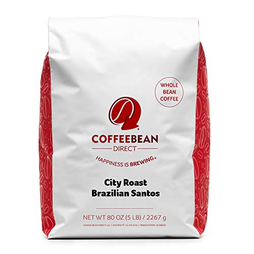 Coffee Bean Direct Dark Brazilian Santos, Whole Bean Coffee, 5 Pound Bag