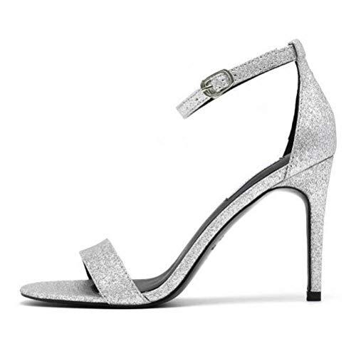 Women Sandals Bout Pointu Sandales à Talons Superbes à Bouts Pointus Talon Aiguille Polyvalent de la Mode Estivale, Silver, 37