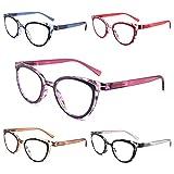 Yuluki 5 Pack Reading Glasses Blue Light Blocking,Fashion Womens Readers 2.25 Spring Hinge,Computer Eyeglasses Ladies Anti Glare