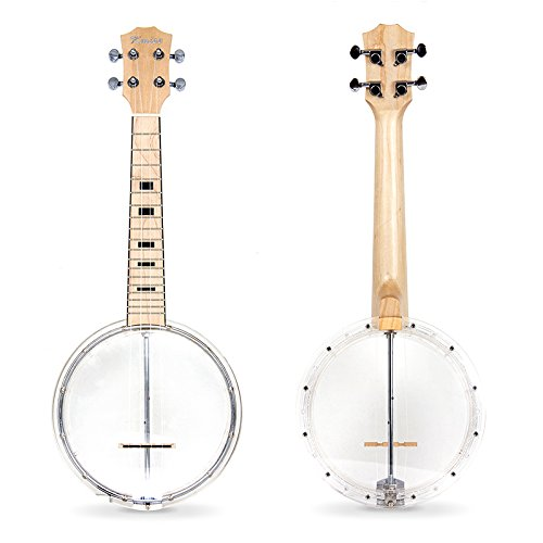 Banjo Ukulele 4 String Concert Ukelele Maple With Transparent Plastic Body From Kmise