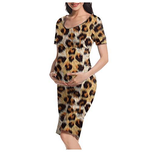 Vuncio Vestido de maternidad de verano, tallas grandes, manga corta, con flores, maxivestido para mujer, para embarazadas, tiempo libre, informal, elegante, para la playa Leopardo marrón. 38