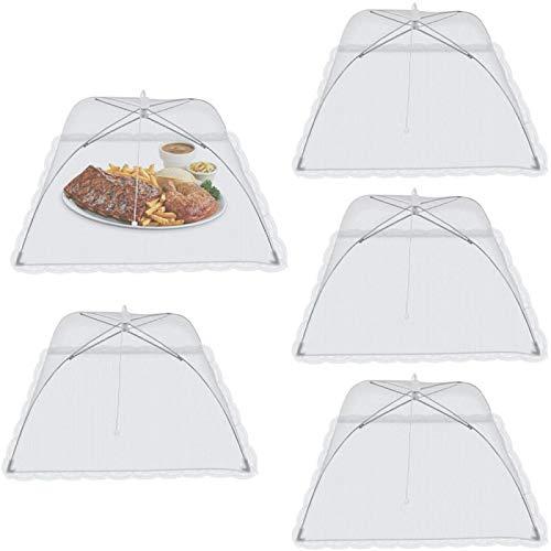 Cubierta de red para mosca de alimentos, paraguas plegable de malla con forma de paraguas para alimentos para interiores y exteriores, paquete de 5 unidades de 17 x 17 pulgadas (blanco)