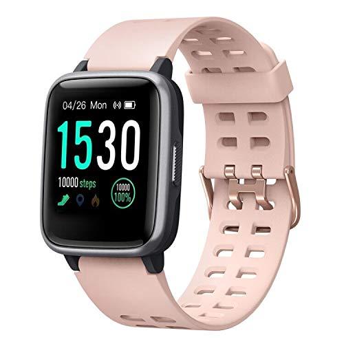 Willful Smartwatch,Fitness Armbanduhr mit Pulsuhr Touchscreen Fitness Uhr IP68 Wasserdicht Fitness Tracker Sportuhr mit Schrittzähler Stoppuhr Smart Watch für Damen Herren für iOS Android Handy Rosa
