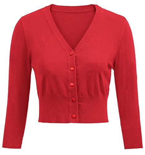Belle Poque - GF609 - Bolero con manga 3/4 y diseño retro de cerezas bordadas de los años 50, para mujer Rojo(928-5) S