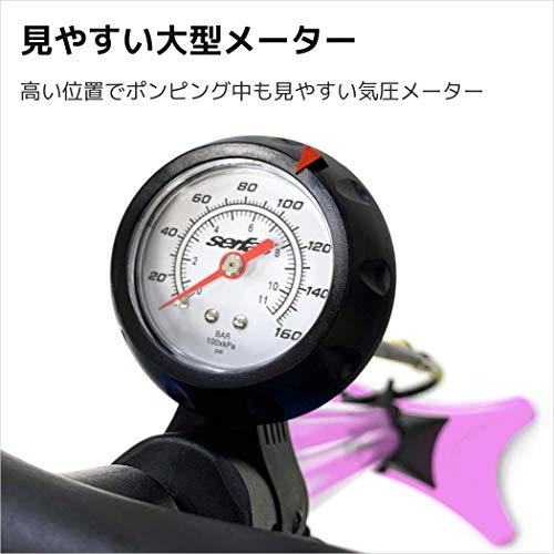SERFAS(サーファス)自転車高圧空気入れエアフロアポンプ仏式/米式/英式/ボール/ボートバルブアダプターエアゲージロードバイクMTBWFP-200女性用ピンク046708