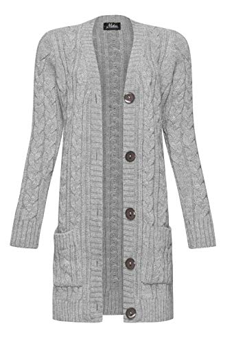Mikos* Damen Cardigan Lang Elegant Strickjacke Wolle Langarm Strickmantel Mantel Frühling/Winter/Herbst (535) (Grau, M)