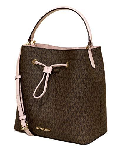 Michael Kors Suri Large Bucket Crossbody Bag Brown MK Logo Powderblush Pink