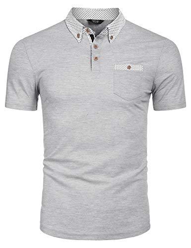 COOFANDY Poloshirt Herren Kurzarm Polo Shirts Freizeit Polohemd Einfarbig Shirt Mit Polo Kragen