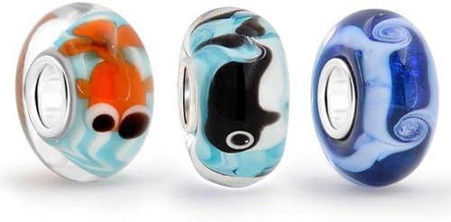 Aqua Mix De Cristal De Murano Náuticas 3 Core Abalorio Separador El Encanto Parapulsera Europea Para Mujer Adolescente