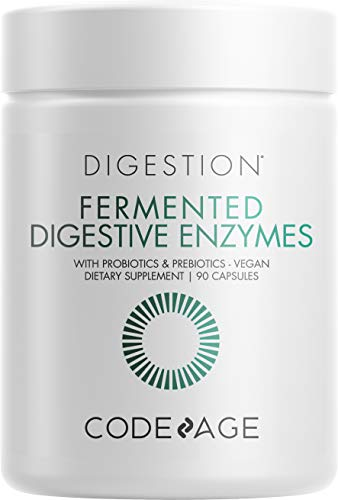 Codeage Fermented Digestive Food Enzymes with Probiotics + Prebiotics + Cofactor Vitamins and Minerals to Support Overall Digestive Health, Amylase Lipase Lactase, Plant Based Non-GMO, 90 Servings