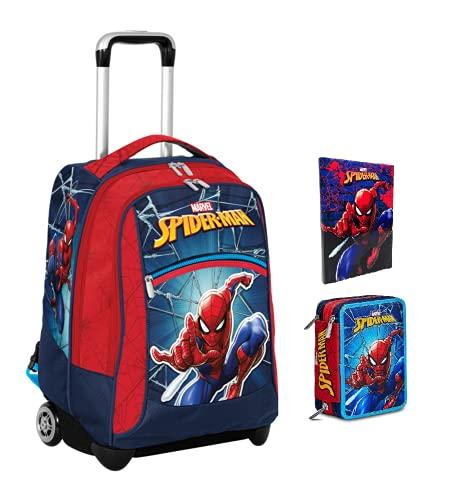 Mochila escolar de Spiderman Marvel + estuche de 3 pisos completo + Diario 2021/2022 + 7 bolígrafos borrables con llavero juego cubo y bolígrafo multicolor perfumado