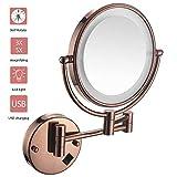 ZHMIRROR Miroir cosmétique mural grossissant avec éclairage, miroir de salle de bain rond monté au mur (orientable à 360°), chargement USB, bouton marche/arrêt 1:1und1:3 Rose doré