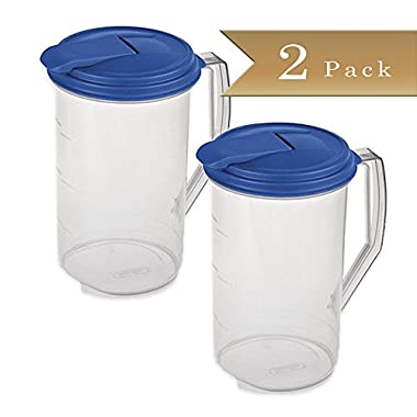 Set of 2 - TrueCraftware Round 2 Quart Pitcher - Clear with Blue Lid