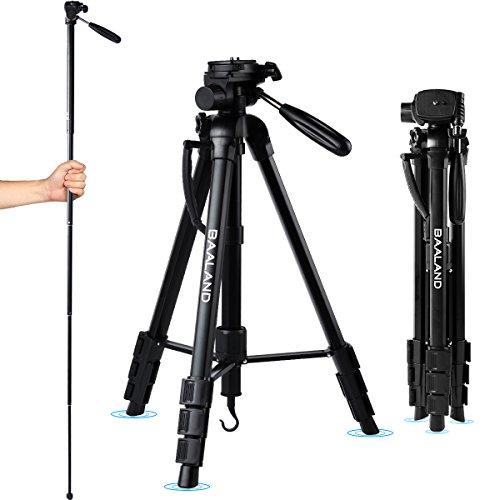 BAALAND Camera Tripod 20-70 Inch Lightweight Aluminum Compact Travel Tripod for Nikon Canon DSLR Video Camera 11LBS MAX Load with Bag